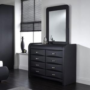Azari Dressing Table With Mirror In Black Faux Leather