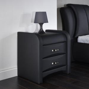 Azari Bedside Cabinet In Black Faux Leather With 2 Drawers
