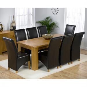 Daniela Chunky Solid Oak Dining Table And 8 Barcelona Chairs