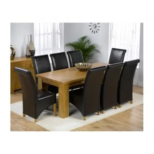 Daniela Solid Oak Rectangle Dining Table And 8 Leather Chairs