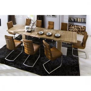Bari Extendable Solid Oak Dining Table With 8 Flair Chairs