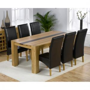 Beatrice Oak Dining Table With Walnut Strip And 6 Leather Chairs