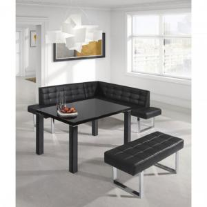 Austin Dining Bench In Black Faux Leather With Chrome Base_2