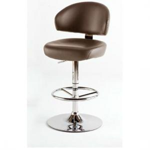 Bingo Brown Bar Stool In Faux Leather With Chrome Base