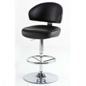 Bingo Black Bar Stool In Faux Leather With Chrome Base