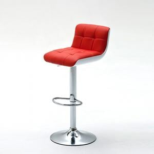 Bob Red Bar Stool In Faux Leather With Chrome Base