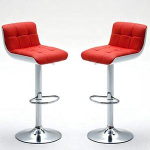 Bob Bar Stools In Red Faux Leather in A Pair