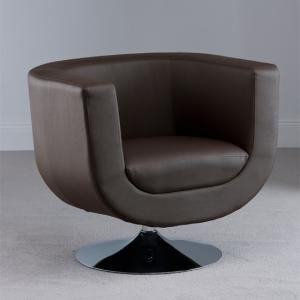 Havana Swivel Brown Faux Leather Tub Chair