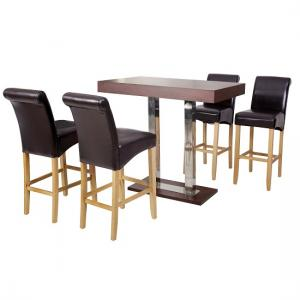 Caprice Bar Table Rectangular In Wenge And Stainless Steel_3
