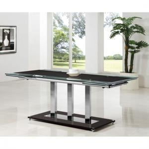 Tripod Black Glass Extending Dining Table Only