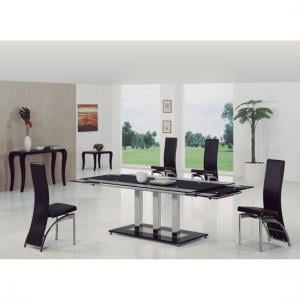 Tripod Black Extending Glass Dining Table And 8 G501 Chairs