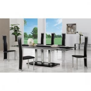 Tripod Black Extending Glass Dining Table And 8 G650 Chairs