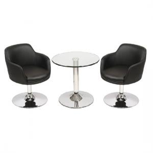 Belize Glass Bistro Table In Clear And 2 Black Bucketeer Chairs
