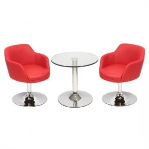 Belize Bistro Table In Clear Glass With 2 Red Bucketeer Chairs