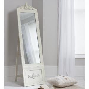 Gracie Cheval Floor Standing Vintage Mirror In Cream