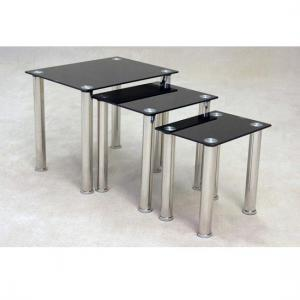 Bizet Black Glass Nest Of Tables