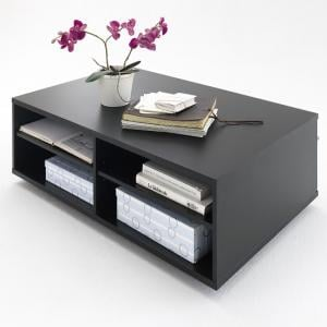 Black Collection Coffee Table In Matt With Shelves