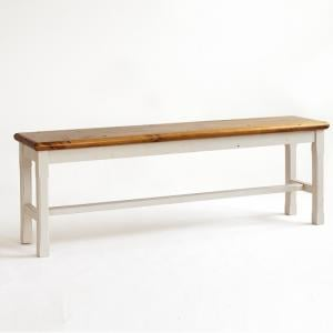 Boddem Dining Bench In White Pine Wood Cottage Style