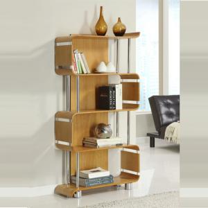Contemporary Bookshelf In Real Oak Veneer With Chrome Tubes