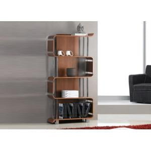 Contemporary Bookshelf In Real Walnut Veneer With Chrome Tubes
