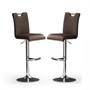 Bardo Bar Stools In Brown Faux Leather in A Pair