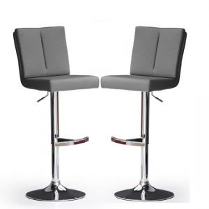 Bruni Bar Stools In Grey Faux Leather in A Pair