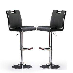 Casta Bar Stools In Black Faux Leather in A Pair
