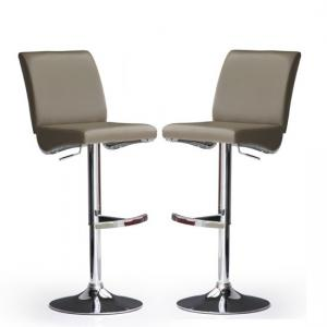 Diaz Bar Stools In Cappuccino Faux Leather in A Pair