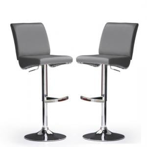 Diaz Bar Stools In Grey Faux Leather in A Pair