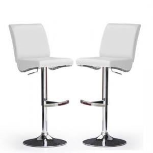 Diaz Bar Stools In White Faux Leather in A Pair