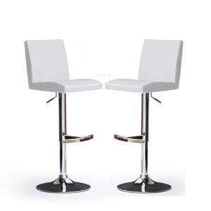 Lopes Bar Stools In White Faux Leather in A Pair