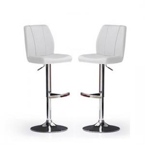 Naomi Bar Stools In White Faux Leather in A Pair