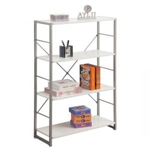 Kassel Tall Bookcase In Grey Frame With 4 White Gloss Shelf