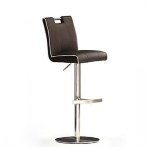 Casta Brown Bar Stool In Faux Leather With Stainless Steel Base