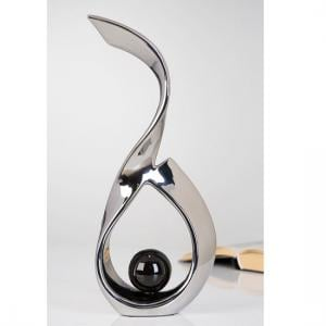 Black Ball Sculpture In Ceramic Silver