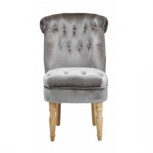 Carlos Boudoir Style Chair In Silver Fabric With Linen Effect