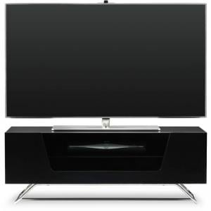 Romi LCD TV Stand In Black With Chrome Base