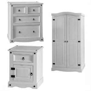 Coroner Bedroom Furniture Set In White Washed Pine