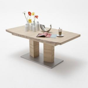 Cuneo Extendable Dining Table Boat Shape Large In Bianco Oak