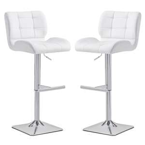 Candid White Faux Leather Bar Stool With Chrome Base In Pair