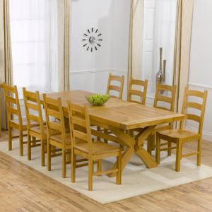 Avignon Oak Extending Dining Table And 8 Hannover Timber Chairs