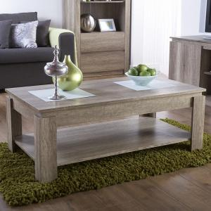 Caister Wooden Coffee Table Rectangular In Oak With Undershelf