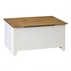 Caprio Ottoman Blanket Box In White With Waxed Pine With Storage