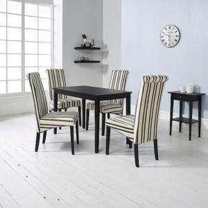 Carmel Wooden Dining Table In Matt Black And 4 Cream Chairs