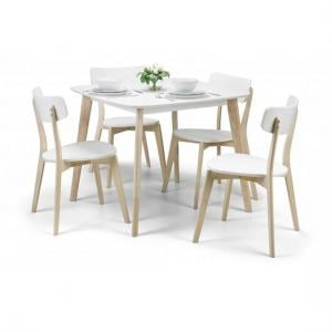 Bramley Dining Table Square In White With 4 Dining Chairs