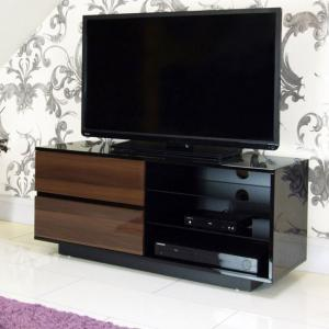 Century Gl Top Lcd Tv Stand In Walnut And High Gloss Black