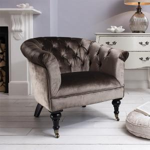 Dovern Sofa Chair In Mocha Velvet With Wooden Legs And Castors_1