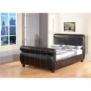 Chicago Sleigh Bed In Brown Faux Leather