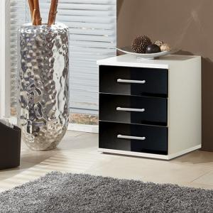Alton Bedside Cabinet In Alpine White And Gloss Black Fronts