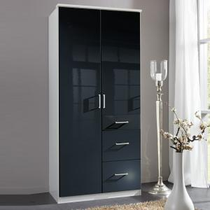Alton Wardrobe In Gloss Black And Alpine White With 3 Drawers